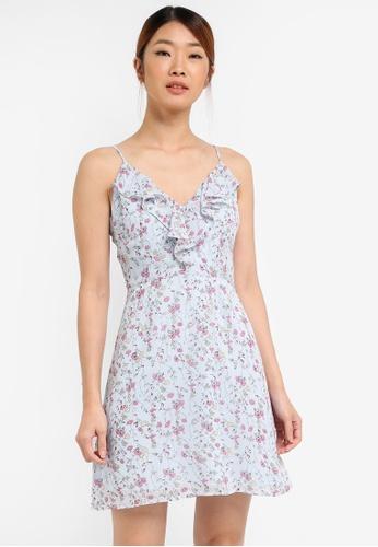 Something Borrowed blue Ruffle V-Neck Dress 163E6AAA81D141GS_1