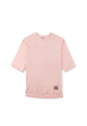 Peeps pink Unbalance 3/6 Short Sleeved TEE EE2A5AA40A11A5GS_1