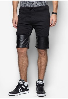 PU Panel Sweat Shorts