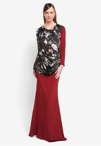 YADOTSA for ZALORA black and red Ellery Printed Drape Kurung YA729AA0STH3MY_1