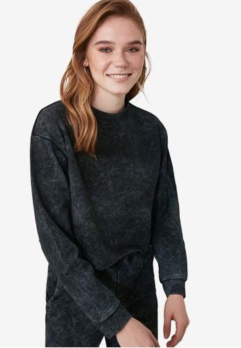 Trendyol black and multi Acid Washed Sweatshirt 87C01AA95D3B84GS_1