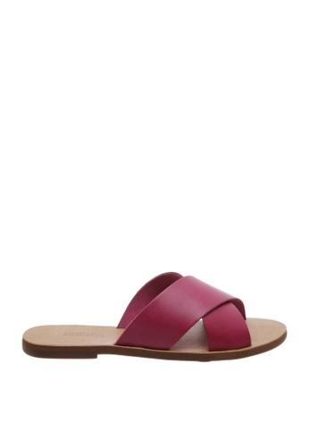 Anacapri 粉紅色 交叉繞帶平底涼鞋 70D92SH8BF713FGS_1