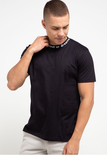 Peoples black T Shirt W/ Rib Printing ED5A0AAB75DCA4GS_1