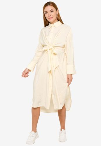 H&M yellow Tie-Front Shirt Dress 94041AA4F750D2GS_1