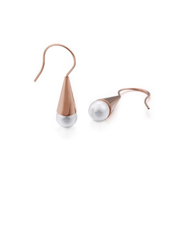 Glamorousky white Simple and Elegant Plated Rose Gold Geometric Imitation Pearl 316L Stainless Steel Earrings B8019AC1EC35D5GS_1