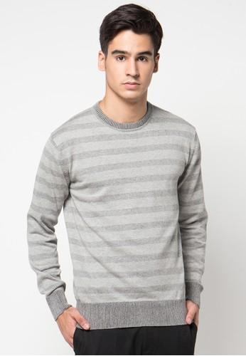 Noir Sur Blanc grey Mens Oneck Full Stripe NO321AA33AASID_1