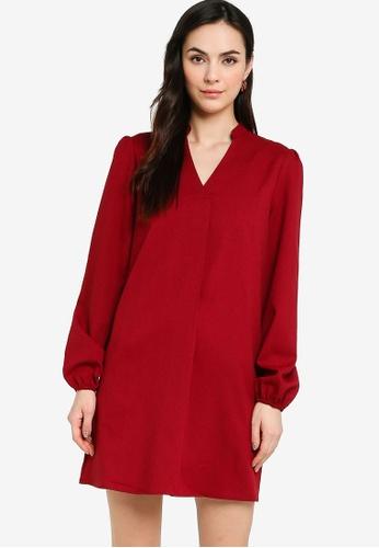 ZALORA WORK red Puff Sleeves Shift Dress F79F4AA3149063GS_1