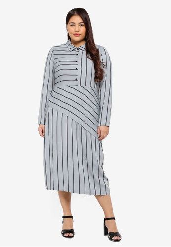LOST INK PLUS grey and blue Plus Size Shirt Dress In Mint Stripe E49F0AA06C8B74GS_1
