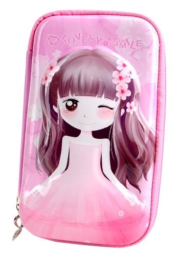 Yome pink YOME Pencil Case Flower Girl 802C8KC21ED9FEGS_1