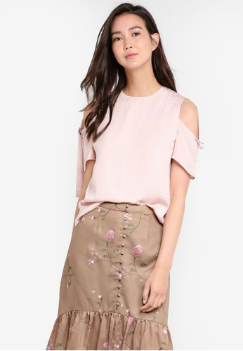 ZALORA pink Buckle Detail Cold Shoulder Top 73659AA79ED387GS_1