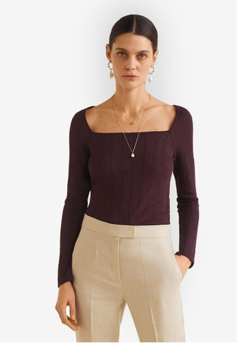 7d764aa4f36e9 Shop MANGO Ribbed Knit Top Online on ZALORA Philippines