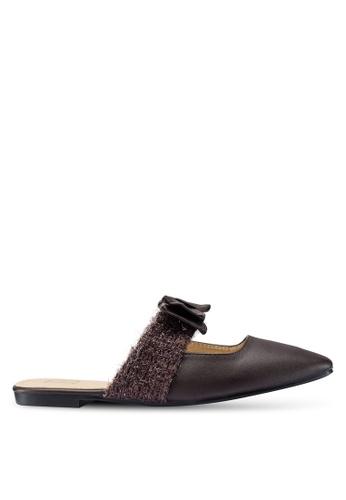 Berrybenka 褐色 蝴蝶結穆勒鞋 E4409SH799EC2EGS_1