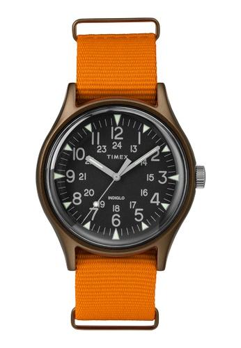 Timex black and orange Timex MK1 Aluminum 40mm - Bronze Case, Orange Fabric Strap (TW2T10200) B3EB2AC4DBFED9GS_1