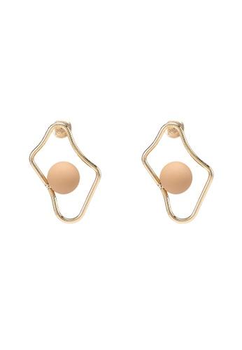 Saturation gold Organic Shape Bead Earrings 7101AACE7E7D67GS_1