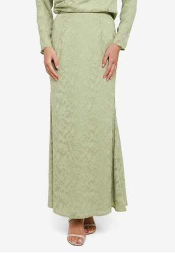 Zalia green Textured Floral Mermaid Skirt EA70BAA5041856GS_1