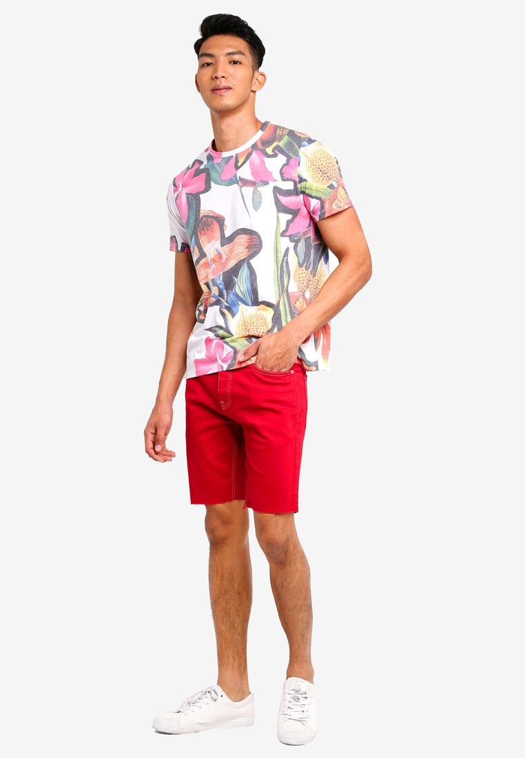 Topman Shorts Red Red Denim Skinny Stretch pxIqS