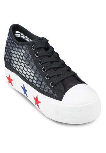 繫帶網眼厚底休esprit hk store閒鞋, 女鞋, 鞋