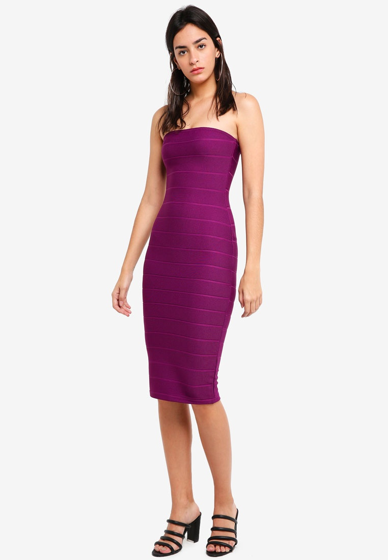 Bandage Strapless Dress MISSGUIDED Midi Purple XpXAWYv