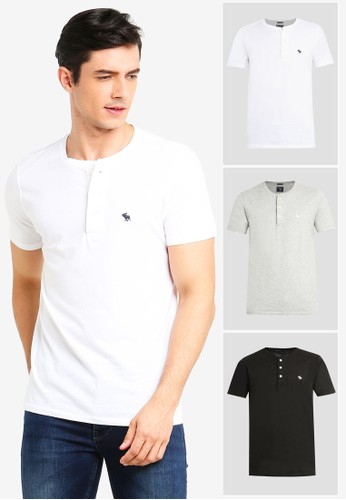 Abercrombie & Fitch multi Short Sleeves Henley Shirt C4F37AA97F5C48GS_1
