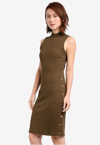 ZALORA green Rib Dress With Side Poppers 98296AA41BA3C5GS_1