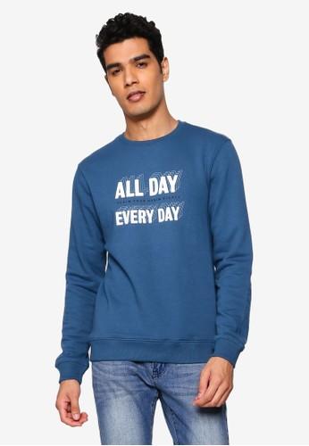 BLEND navy Text Print Sweatshirt CCA66AAE96EE5CGS_1