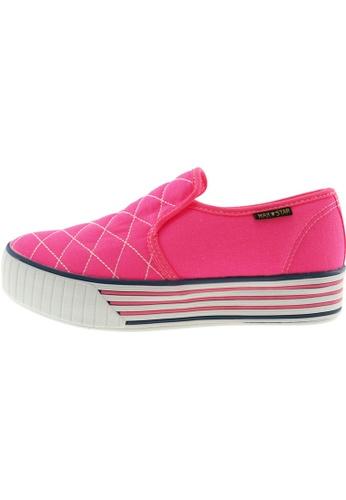 Maxstar 粉紅色 新款韩国鞋C30-Stitch時尚帆布布混合女粉紅色 US Women Size MA345SH01HESTW_1