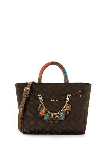 SEMBONIA brown SEMBONIA Jacquard Trimmed Leather Satchel Bag (Dark Brown) A9258AC35D4E48GS_1