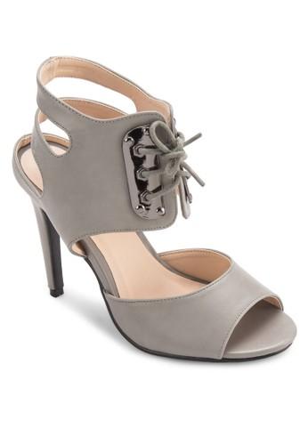 繫帶低筒露趾高跟esprit hk鞋, 女鞋, 魚口鞋