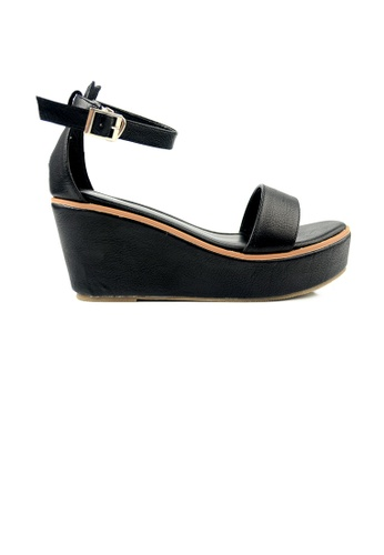 SHINE black SHINE Open Toe Ankle Strap Buckle Wedges DCAF1SHFD2D3AAGS_1