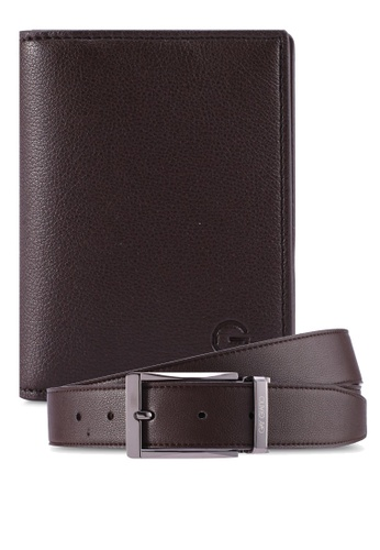 Gay Giano brown Full Grain Leather Belt and Cardholder Gift Set 15BA0AC1FF8C40GS_1
