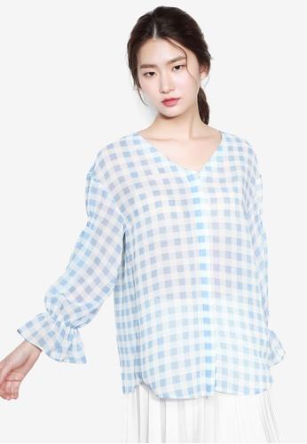NAIN blue Gingham Volume Sleeve Blouse 059E8AA7850970GS_1