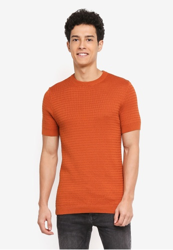 River Island orange Short sleeve Cable Muscle Knit Jumper BF125AA394EFC3GS_1