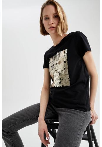 DeFacto black Short Sleeve Sequin Detailed T-Shirt FC3A9AAC0BAF12GS_1