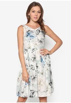 Blue Flower V-Neck Mini Dress