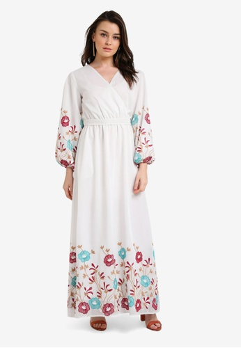 Zalia white Embroidered Mesh Wrap Dress 84D0DAAAD3C5F7GS_1