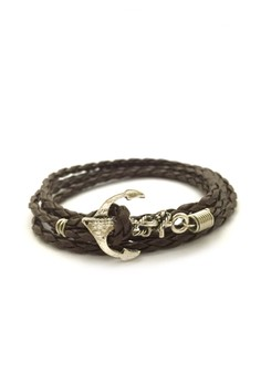 Anchor Wrap Bracelet with Brown Cord