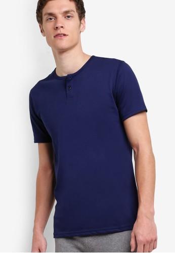 Slim Fit Round Neck Button Tee, 服飾, zalora 手錶 評價T恤