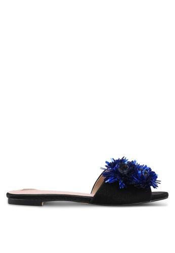 Velvet black Flower Embellished Flats 2A3CESH5FB9967GS_1