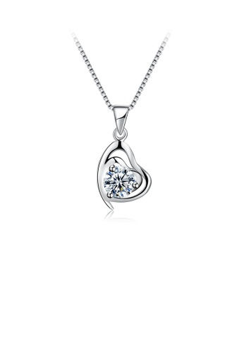 Glamorousky white 925 Sterling Silve Simple Elegant Romantic Heart Shape Pendant and Necklace with Cubic Zircon 173A1AC6EDF4B7GS_1
