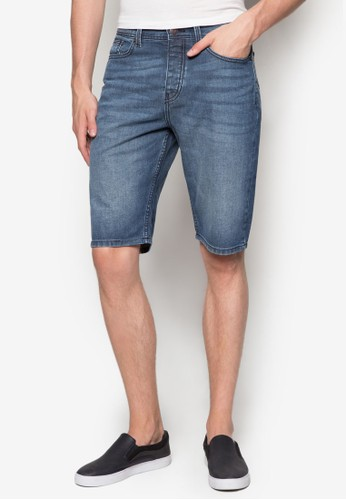Mid Blue Coatedesprit retail Denim Shorts, 服飾, 短褲