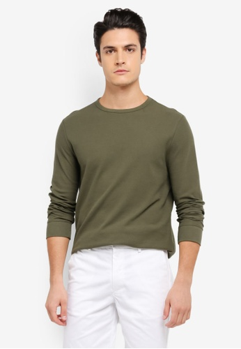 Burton Menswear London green Long Sleeve Mini Waffle Jersey Sweatshirt BU964AA0SWM6MY_1