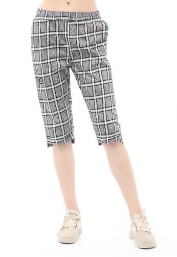 Hamlin grey Madoc Short Pants Celana Pendek Kasual Wanita 7/8 Motif Kotak Material Cotton ORIGINAL - Gray A6988AA29B1CDDGS_1