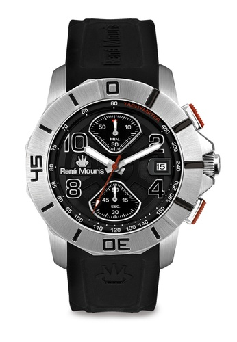 René Mouris multi Infinité Collection - 45mm Mannish Quartz Chronograph Watch for Men's - Black Color Silicone Strap - Made in France CD857ACD5C3A0DGS_1