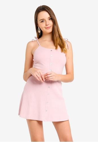 ZALORA 粉紅色 針織細肩帶洋裝 9061AAA8A6C034GS_1