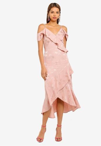 Miss Selfridge pink Jacquard Cold Shoulder Dress C8DFFAA230C5D6GS_1