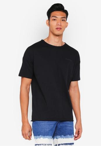 Penshoppe black Raw Finished Boxy T-Shirt A014EAAA1F2B39GS_1