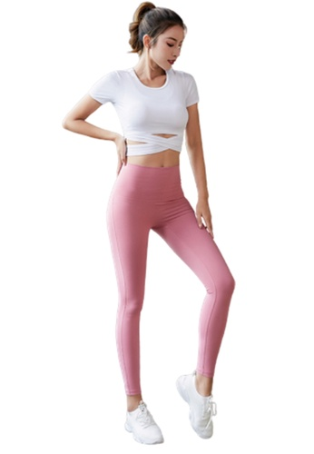 B-Code white ZYG3086-Lady Quick Drying Running Fitness Yoga Sports Top and Leggings Two Pieces Set -White C8550AAB644B20GS_1