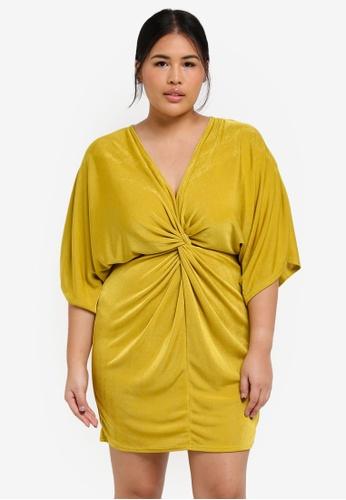 MISSGUIDED yellow Plus Size Slinky Kimono Dress B8840AA13960CEGS_1