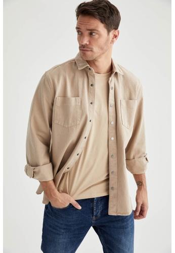 DeFacto brown Long Sleeve Cotton Shirt 8ED43AA62B9B5FGS_1