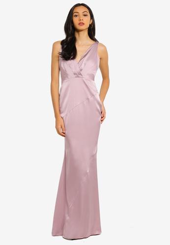 Bridesmaids V Plunge Satin Maxi Dress